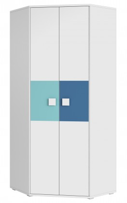 FOX 03 - Rohová dětská skříň (modrá)
