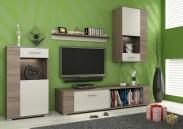 Foxy - Obývací stěna, LED (dub trufel/bílá, dub trufel, fronty)