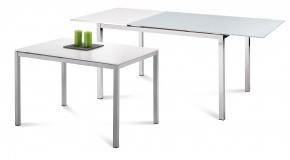 Full - Jídelní stůl (saténový hliník, bílá matná) - II. jakost