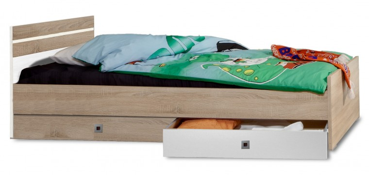 Game - Postel, 90x200, úložný prostor (bílá, dub)