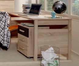Game - Pracovní stůl, mobilní komoda (dub, černá)