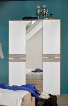 Game - Skříň, 2 dveřová, se zrcadlem a zásuvkami (bílá, dub)
