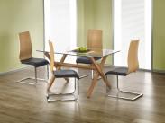 Gartner - Jídelní stůl 140x80 cm (olše, čiré sklo)