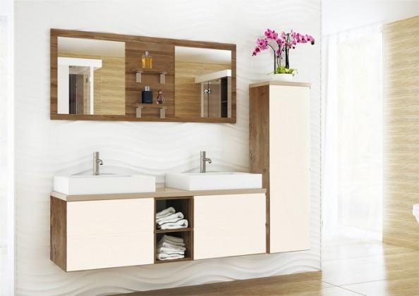 Genova - Koupelnová sestava,2 umyvadla (bílá,boky tm.bříza)