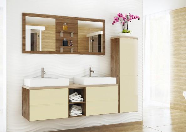 Genova - Koupelnová sestava,2 umyvadla (vanilková,boky tm.bříza)