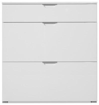 GW-Gala - Botník, 1x zásuvka, 2x výklopné dveře (bílá)