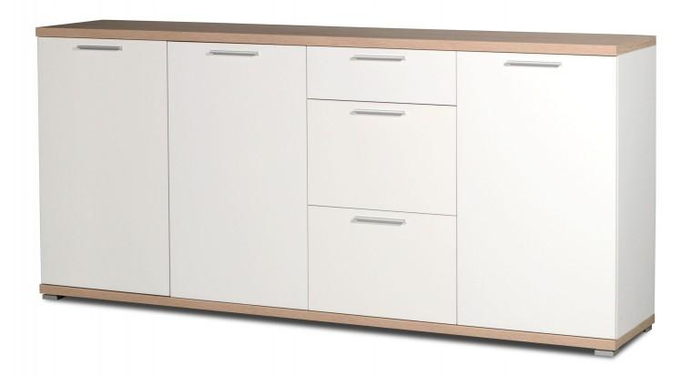 GW-Top - Skříňka, 3x dveře (bílá / dub sonoma)