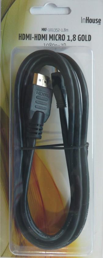 HDMI kabely HDMI kabel MK Floria, mikroHDMI, 2.0, 1,8m