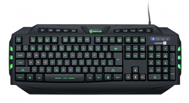Herní klávesnice Connect IT CI-218 Biohazard Keyboard GK2000 USB CZ, černá