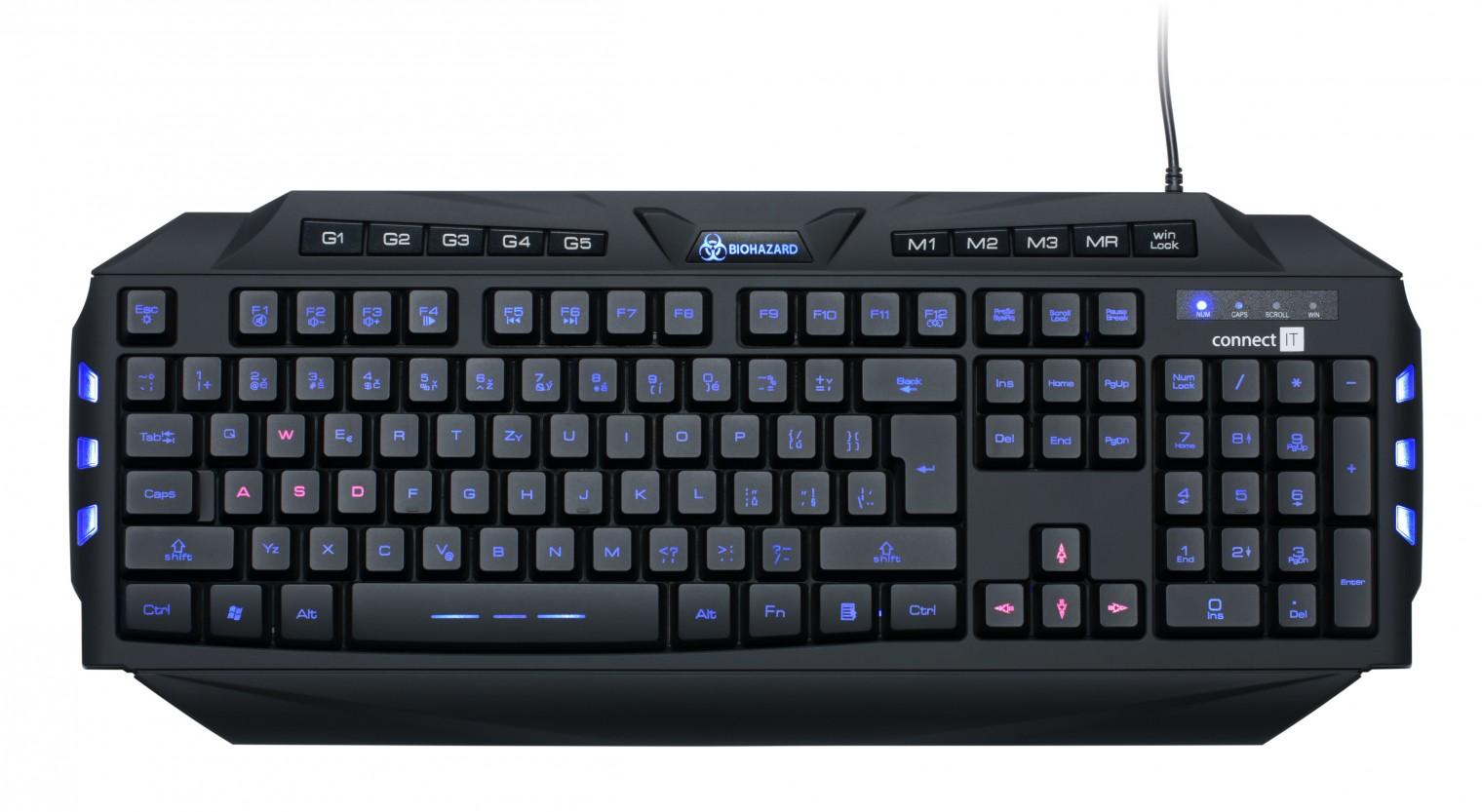 Herní klávesnice Connect IT CI-218 Biohazard Keyboard GK2000 USB CZ, čierna BAZAR