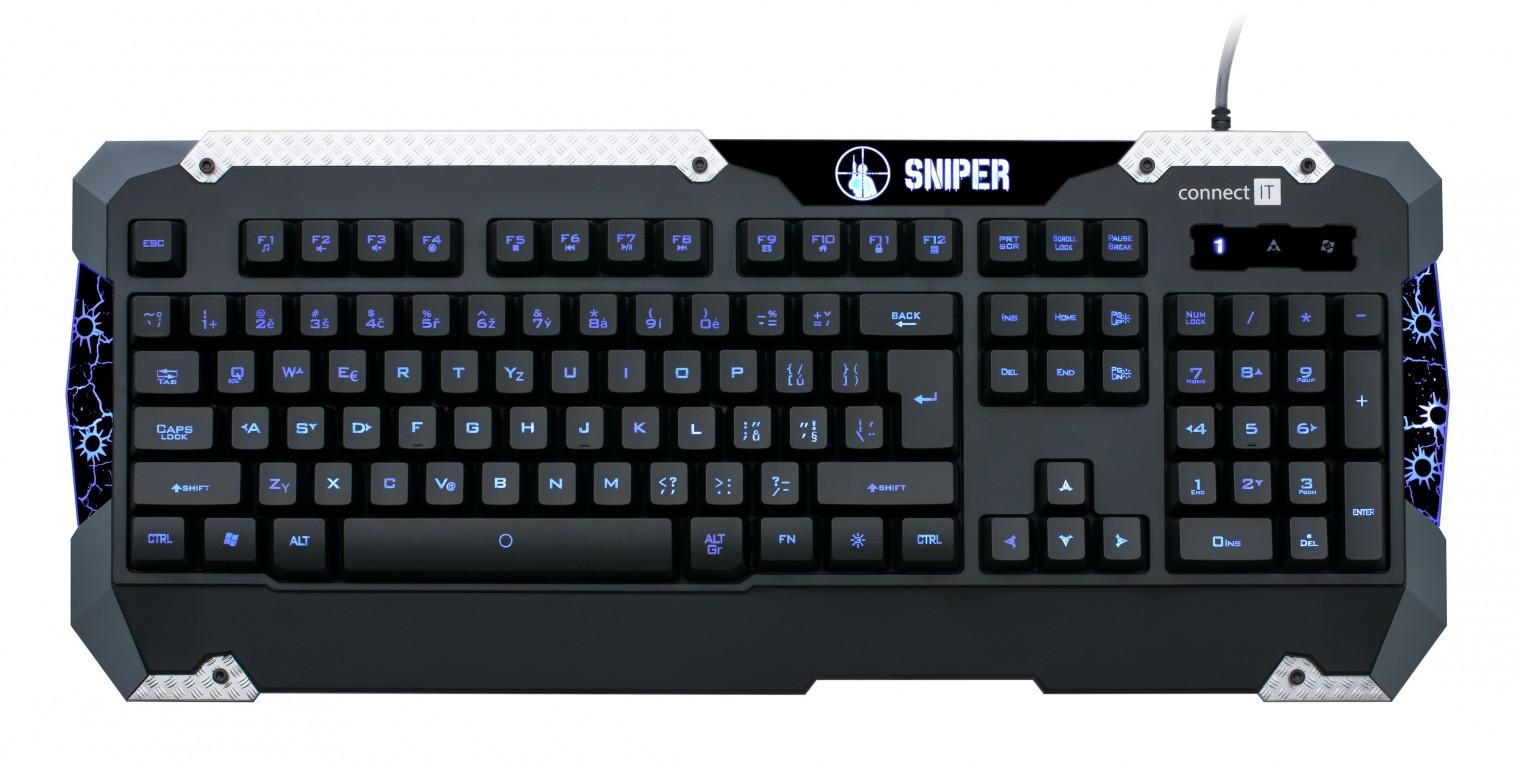 Herní klávesnice Connect IT GK5500 Sniper Keyboard USB CZ, černá