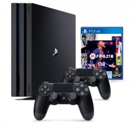 Herní konzole PlayStation 4 SONY PlayStation 4 Pro 1TB - černý + FIFA21 + 2x DualShock