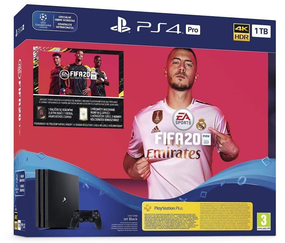 Herní konzole PlayStation 4 SONY PlayStation 4 Pro 1TB - černý - Gamma chassis + FIFA20