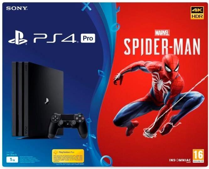 Herní konzole PlayStation 4 SONY PlayStation 4 Pro 1TB-černý-Gamma chassis+Spiderman