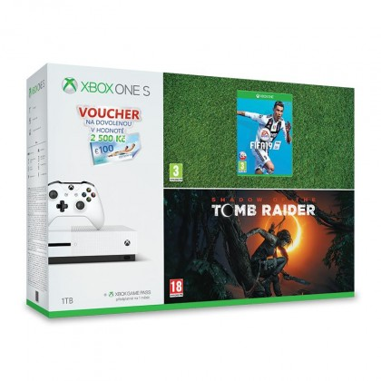 Herní konzole Xbox One X1S 1 TB + Shadow of Tomb Raider+FIFA 19+poukaz