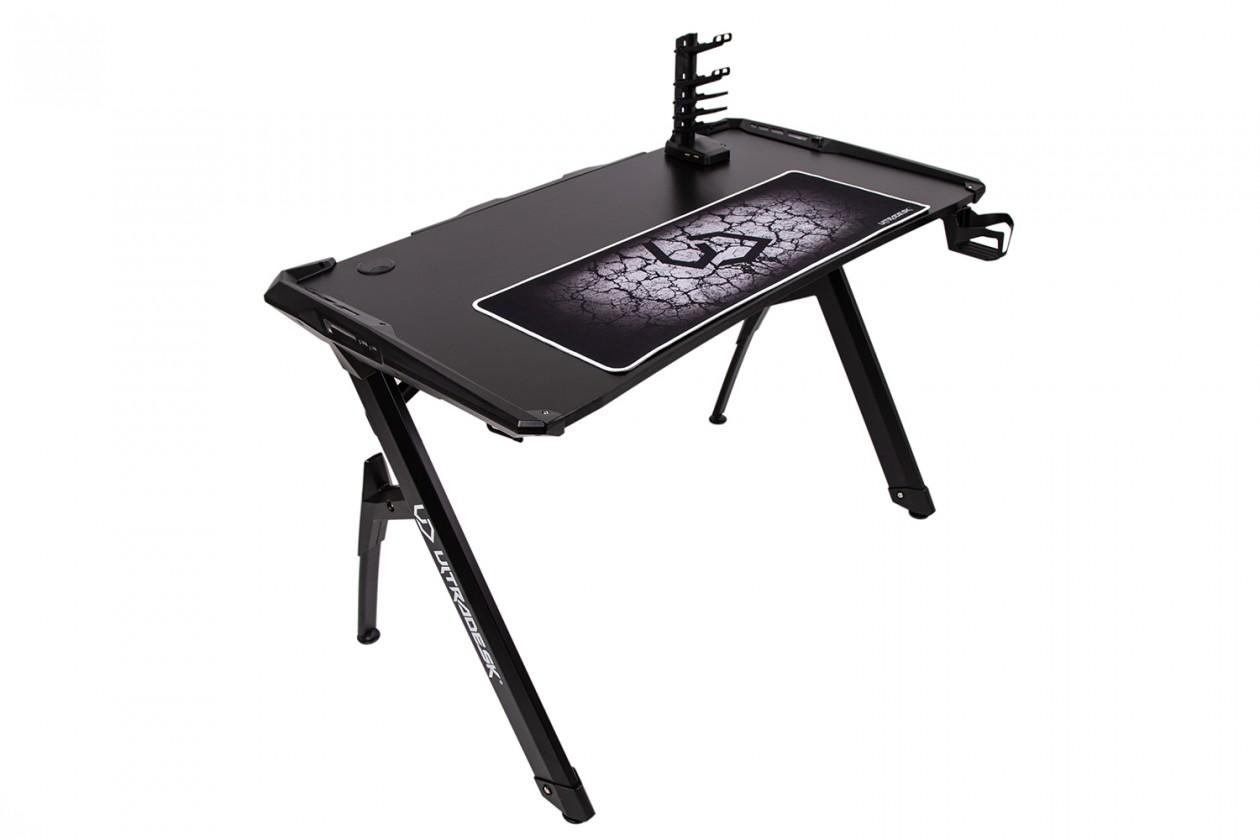 Herní křesla Herní stůl ULTRADESK INVADER - BLACK, podsvícený