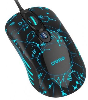 Herní myši Herní myš OP-636B/drátová/laser/3200 dpi/LED/USB/černo-modrá
