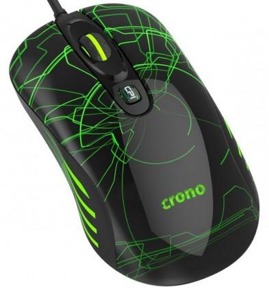 Herní myši Herní myš OP-636G/drátová/laser/3200 dpi/LED/USB/černo-zelená