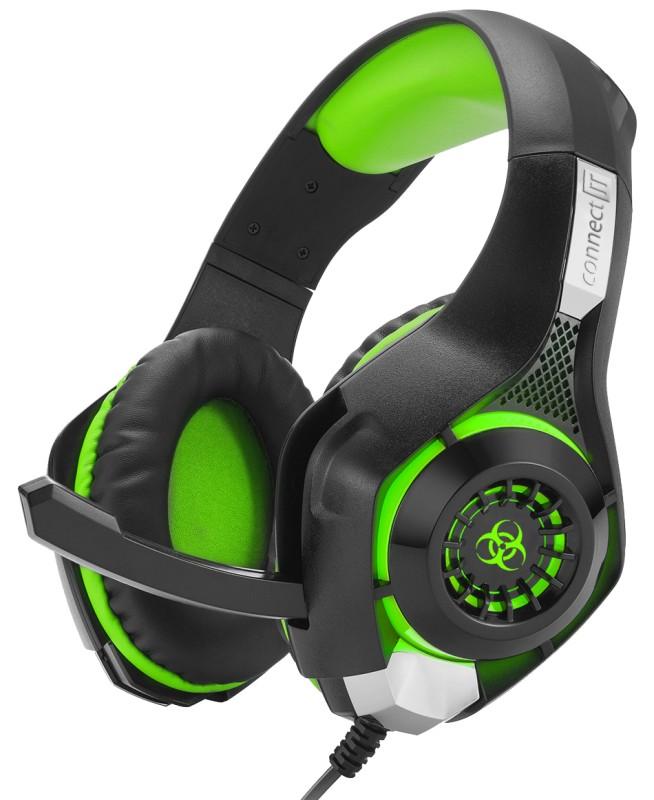 Herní sluchátka CONNECT IT CHP-4510 BIOHAZARD, černá/zelená