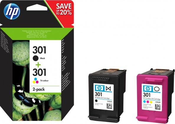 HP J3M81AE 301 Dvojbalení černé/tříbarevné inkoustové kazety