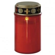 Hřbitovní svíčka nízká, červená LED