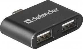 Hub Defebder Quadro Dual USB rozbočovač, USB-C/2xUSB 2.0, černá