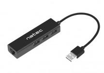 Hub Natec Dragonfly, USB 2.0/3x USB 2.0, RJ45 (LAN, internet)