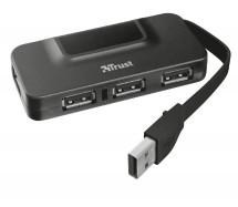 Hub Trust Oila 4, port USB 2.0, 4 USB konektory, černá