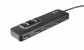Hub Trust Oila 7, port USB 2.0, 7 USB konektorů, černá