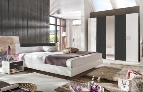 Ilona - Komplet 3, postel 140 cm (alpská bílá, antracit)