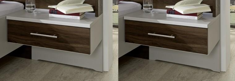Imola - Noční stolek, 1x výsuv, visutý, 2 ks (champagne, nocce)