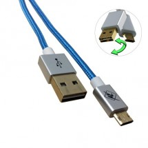 InHouse MKF-Reversible USB/ Micro USB Gold 1,2 BK, modrý