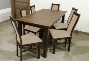 Jídelní set AGA - 6x židle, 1x rozkládací stůl (wenge/látka)
