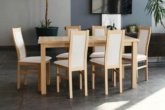 Jídelní set Agáta - Set 6x židle, 1x stůl + rozklad (sonoma/madryt 120)