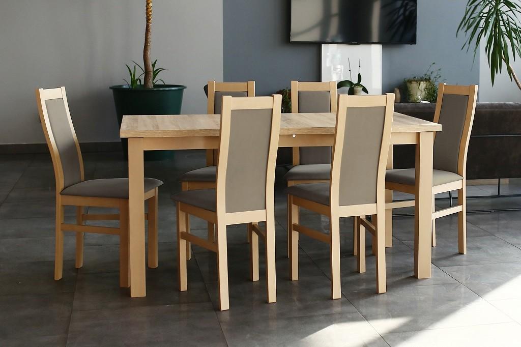 Jídelní set Agáta - Set 6x židle, 1x stůl + rozklad (sonoma/madryt 126)