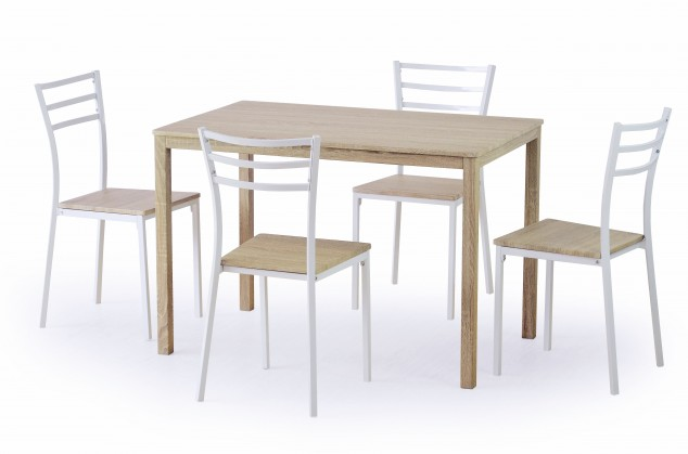 Jídelní set Avant - Stůl + 4 židle (bílá, dub sonoma)