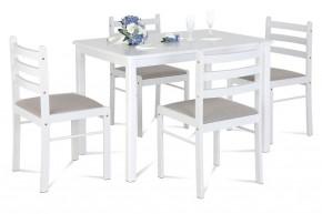 Jídelní set Blanche - 4x židle, 1x stůl (dřevo, bílá)