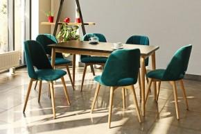 Jídelní set Bryne-6x židle, 1x rozkládací stůl(černá,dub,petrol)