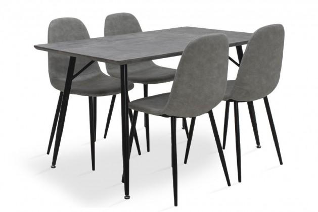 Jídelní set Cedric - 4x židle, 1x stůl (šedá)