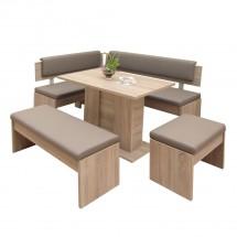 Jídelní set Elinor - rohová lavice, stůl, 2x taburet(dub, hnědá)