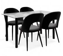 Jídelní set Janet - 4x židle, 1x stůl (sklo, černá)