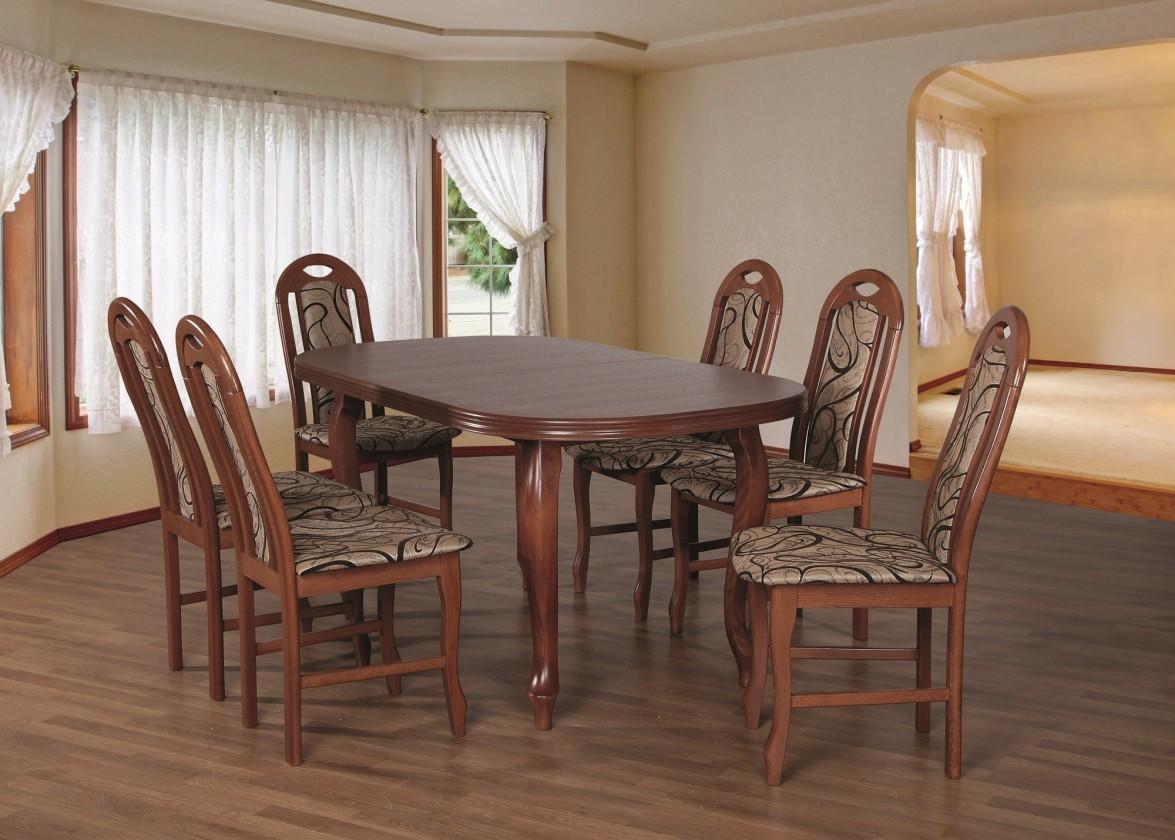 Jídelní set Jídelní set 19 - Stůl 160x90,6x židle (ořech střední/dakota 3)