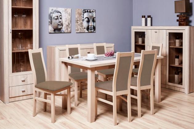 Jídelní set Jídelní set AGA - 6x židle, 1x rozkládací stůl (sonoma/eko kůže)