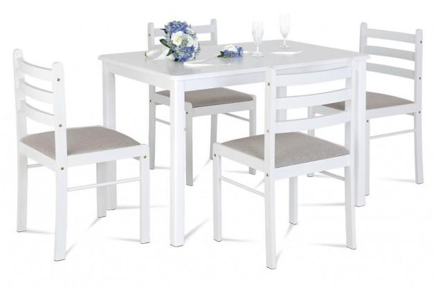 Jídelní set Jídelní set Blanche - 4x židle, 1x stůl (dřevo, bílá)