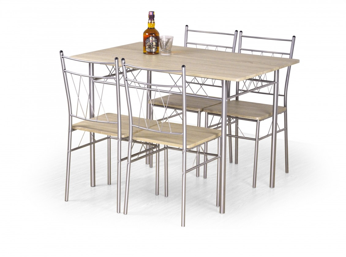 Jídelní set Jídelní set Faust - stůl + 4 židle (dub sonoma/stříbrná)