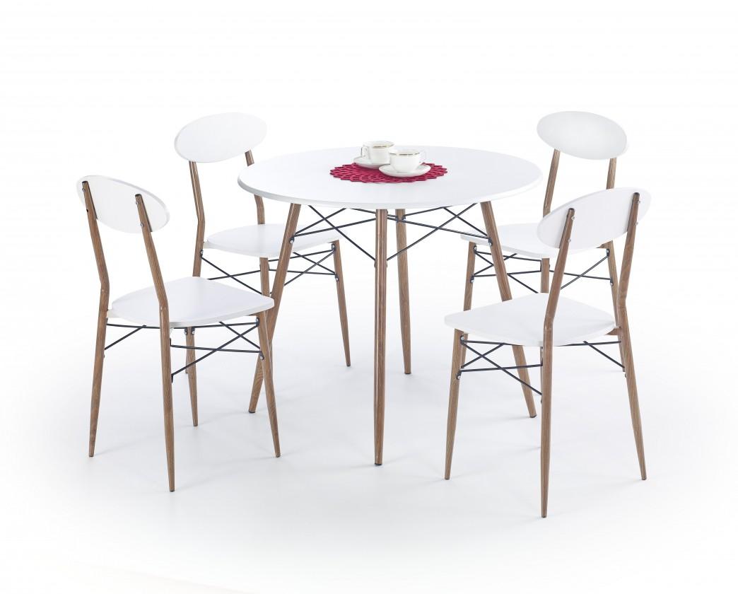 Jídelní set Jídelní set Record - stůl + 4 židle, kulatý (bílá/hnědá)