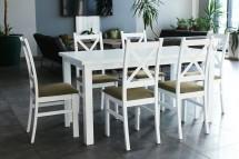 Jídelní set Kasper - 6x židle, 1x stůl rozkládací (bílá, hnědá)