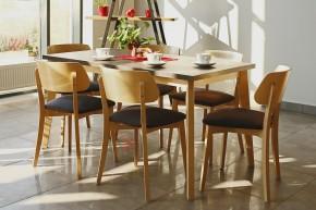 Jídelní set Ombo - 6x židle, 1x rozkládací stůl (dub, černá)
