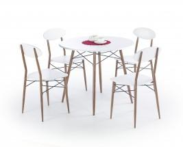 Jídelní set Record - stůl + 4 židle, kulatý (bílá/hnědá)