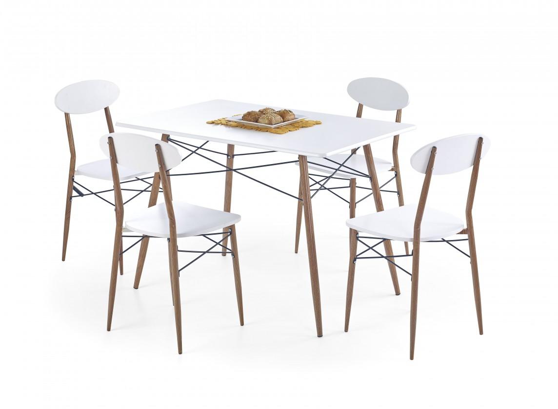 Jídelní set Record - Stůl + 4 židle, obdélník (bílá, hnědá)